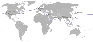 This is the route Mr. Fogg, Aouda, and Passepartout took.