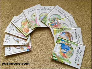 My little library of Beatrix Potter stories.
