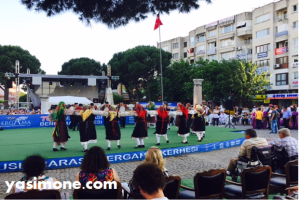 Greek folk dancers at a Bergama Kermes performance.